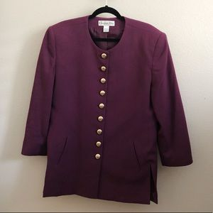 Vintage Christian Dior Purple Worsted Wool Jacket